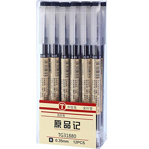 0.35 mm Black Gel Ink Pen Extra-Fine Ballpoint Pen for Office School Stationery Supply (12 Pieces)