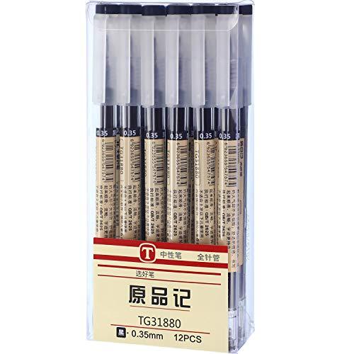 (0.35mm Black Gel Ink Pen Extra-Fine Ballpoint Pen for Office School Stationery Supply 12 Packs)