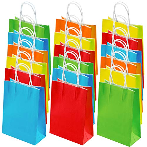 Goody Bags 50 Piece - Coobey 50 Pieces Kraft Paper Bags Party Favor Bags Goodie bags Treat Bags for Kids with Handle for Birthday, Wedding and Party Celebrations