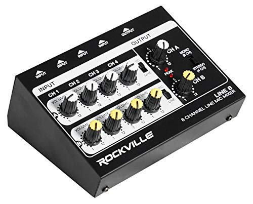 Rockville LINE8 8 Channel Line/Mic Mixer/Stereo/Mono/Battery Operated or Adapter