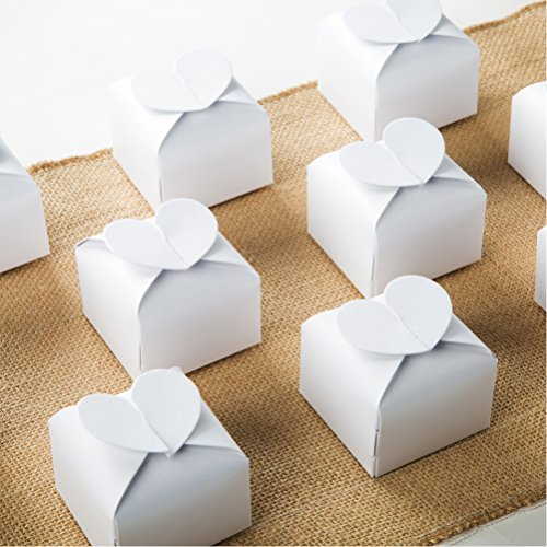 White Candy Box Bulk 2.5x2x2.5 inches with Heart Bow Party Favor Box,White Glitter,Pack of 50