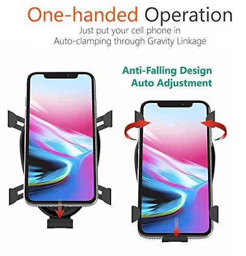 DINTO Wireless Car Charger Gravity Linkage Car Mount Phone Holder Wireless Charger Fast Charging for Galaxy S9, S8, S7/S7 Edge, Note 8 5,Standard Charge for iPhone X, 8/8 Plus & Qi Enabled Devices by DINTO (Image #2)