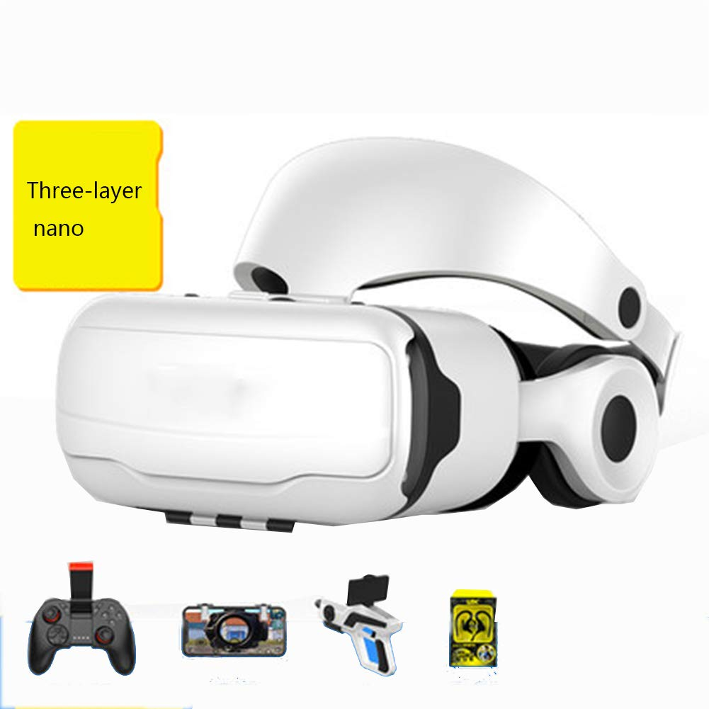AYI 3D VR Glasses, Head-Mounted Virtual Reality Glasses, Suitable for 3.5-6.0 inches iPhone/Android Mobile Phone,White,Package5