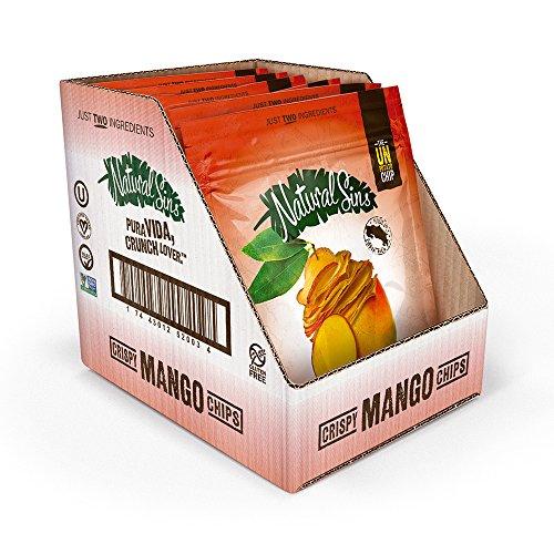 Natural Sins Crispy Mango Chips Mango 1 Ounce Bag (6 Pack), Lightly Sweetened Mango Chips, Vegan, Salt- Oil-Gluten-Free, Paleo-Friendly, Snack Food, Dried Mango Chips -