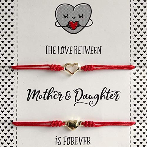 Mother and Daughter Matching Heart Bracelets Set of 2 Red