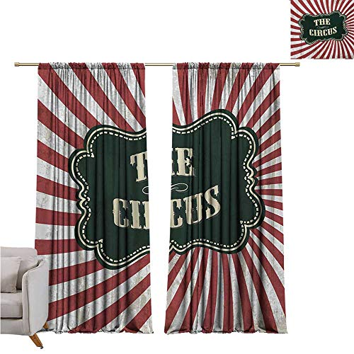 Emerald Drop Ruby - DESPKON-HOME Bedroom Darkening Curtains,Circus Classical Circus Show Event Advertisement Theme Antique Art Logotype Print Grommet Curtain Backdrop (72W x 72L inch,Ruby Cream Emerald)