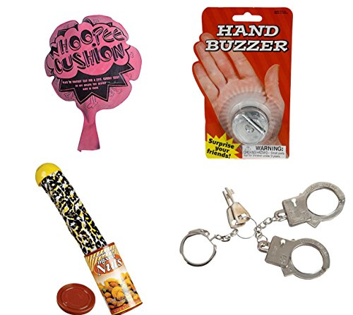 4 TRICKS AND GAGS, SNAKE IN NUT CAN, HAND BUZZER, WHOOPEE CUSHION, THUMB CUFFS BUNDLE BY DISCOUNT PARTY AND NOVELTY