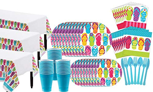 Party City Bright Flip Flop Summer Party Supplies for 60 Guests, 683 Pieces, Includes Plates, Napkins, Utensils, Cups -