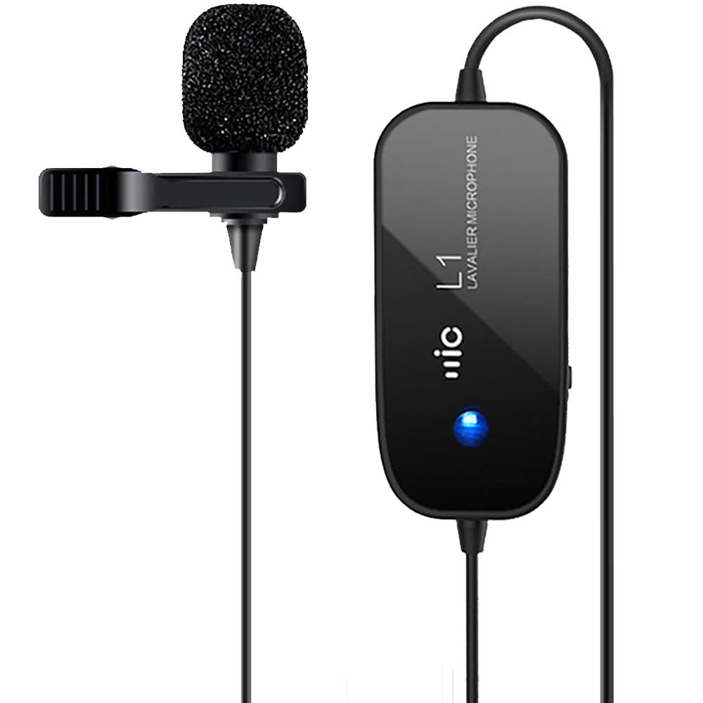 Rechargeable Lavalier Microphone, Champhox MK01 Hands Free Shirt Clip-on Lapel Omnidirectional Condenser Mic for Podcast, Recording, DSLR,Camera,iPhone,Android,Samsung,Sony,PC,Laptop (236 in/20ft)
