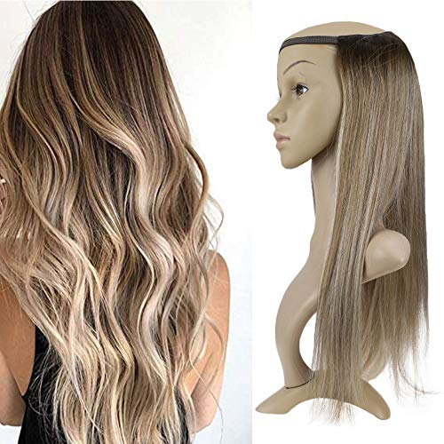 Easyouth U Part Wig With Clips 18 Inch 150g Colour 3 Dark Brown Fading To 8 Ash Brown Highlight With 22 U Human Hair Wig Remy Half Wig With - Headband Wigs Hair Human