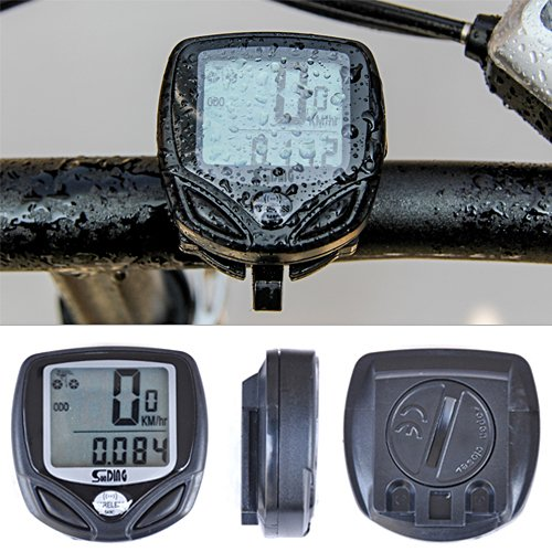 HDE Waterproof Bicycle LCD Speedometer-Odometer Wireless Multifunction