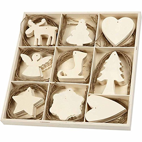 72 Assorted Wooden Ornaments for Christmas