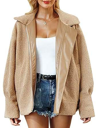BerryGo Women's Faux Fur Lapel Coat Warm Oversized Outwear Jacket with Long Sleeve Khaki,S