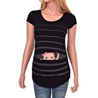 Maternity Clothes ❀ Funny Pregnancy Shirt Cute Baby Print Striped Short Sleeve T-Shirt Tops