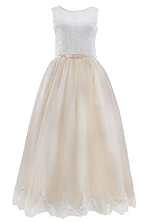 Flowerry Girls Lace Junior Bridesmaid Dresses Girl Formal Dresses 14T Champagne
