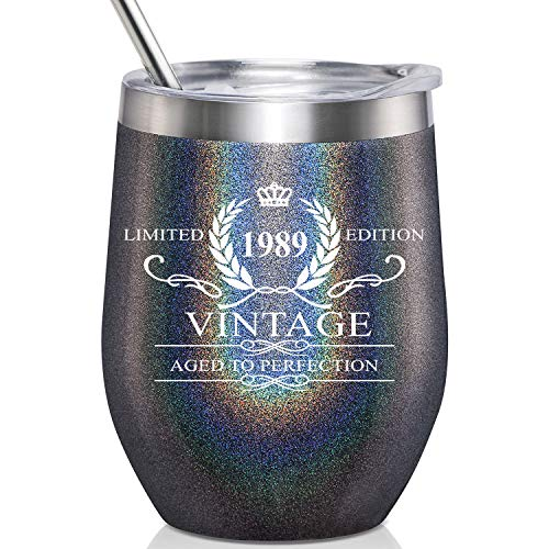 1989 Vintage Aged to Perfection Stainless Steel Wine Tumbler - Funny 30th Birthday Gifts For Men, Anniversary Gift Ideas for Dad, Father, Boyfriend, Husband, Party Reunion Decorations for Him (30th Birthday Gift Ideas For Best Friend)
