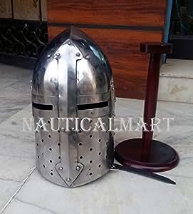 NauticalMart Medieval Renaissance Sugarloaf Armor Helmet with Wooden Stand