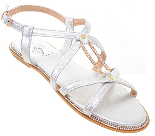 Sparkly Rhinestone Wedding Bridal Thong Flat Slingback Sandal SILVER (Purple Leopard Print Thigh Highs)