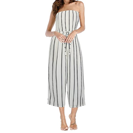 98051a819ee2 Amazon.com  INIBUD Jumpsuits for Women Stripes Strapless Off Shoulder Wide  Leg High Waist Sleeveless Striped Summer (White