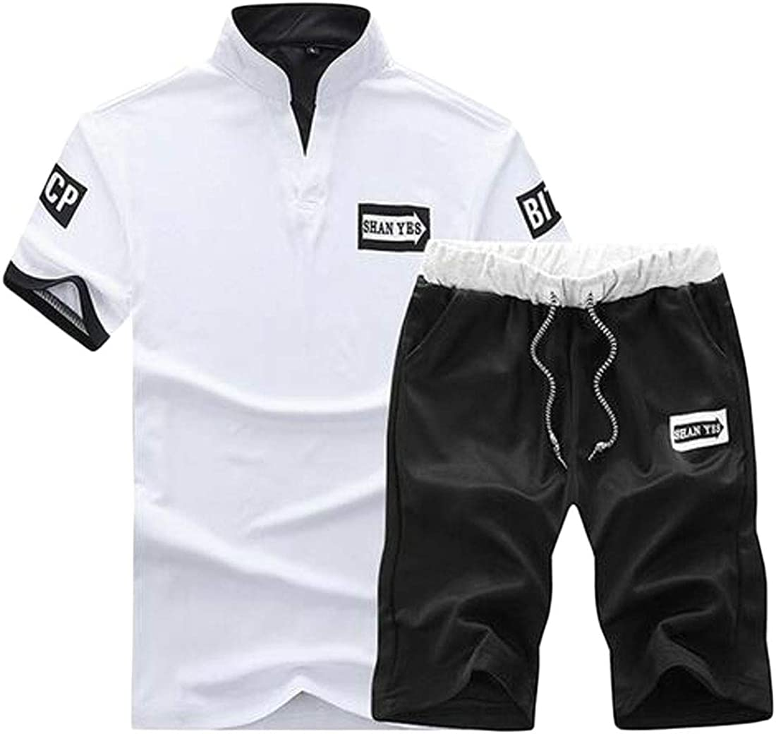X-Future Mens Sport Summer T-Shirt Shorts 2 Piece Outfits Gym Workout Casual Tracksuits