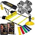 NEEVA Speed Agility Training Kit- Set of Premium Agility Ladder, 10 Disc Cones, Resistance Running Parachute, Jumping Rope, Mini Loop Bands & Sport Drills eBook