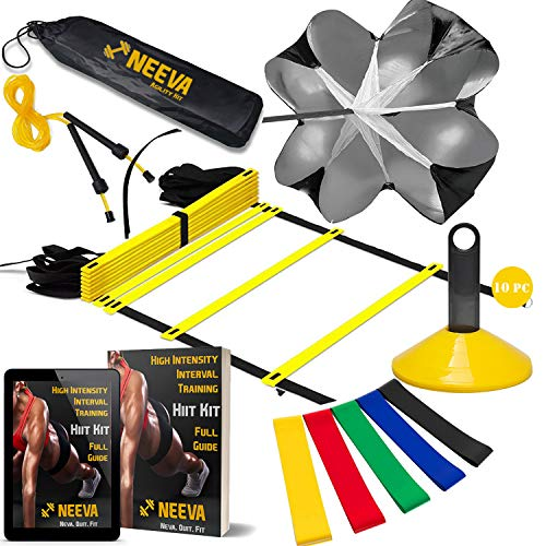 (NEEVA Speed Agility Training Kit- Set of Premium Agility Ladder, 10 Disc Cones, Resistance Running Parachute, Jumping Rope, Mini Loop Bands & Sport Drills eBook)