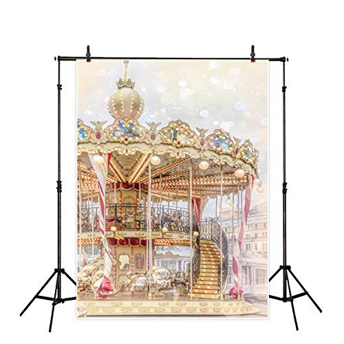 Allenjoy 5x7ft Carousel Backdrop Photography Backdrops Carnival Circus Background Xmas Decoration Photo Studio Booth Prop for Newborn Baby Shower Kids -