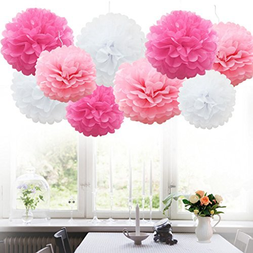 18pcs Tissue Hanging Paper Pom-poms, Flower Ball Wedding Party Outdoor Decoration Premium Tissue Paper Pom Pom Flowers Craft Kit(Pink & White)