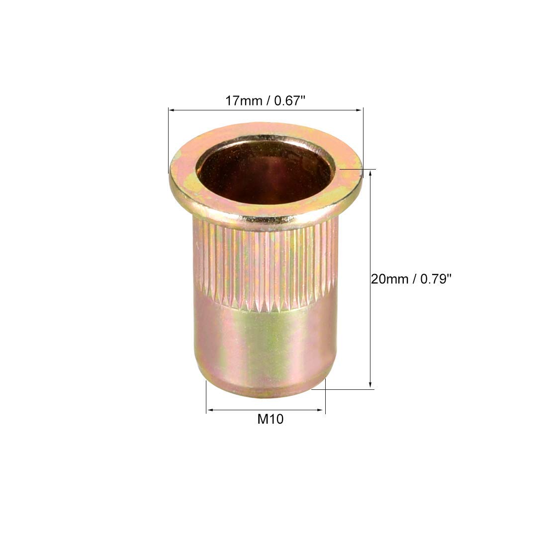 M10 Carbon Steel Rivet Nuts Flat Head Insert Nutsert Yellow zinc Plated 50 Pieces