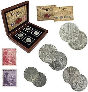 IMPACTO COLECCIONABLES Monedas Antiguas, 4 Monedas + 2 Sellos del Protectorado de Bohemia y Moravia, Segunda Guerra Mundial 1939-1945: Amazon.es: Juguetes y juegos