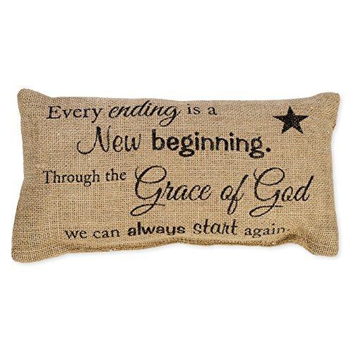Grace of God 6 x 12 Rectangular Burlap Inspirational Decorative Throw Pillow [並行輸入品] B07RBCR596