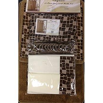 Amazon.com: Burgundy Flower 18-piece Bathroom Set: 2-rugs