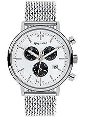 Gigandet Herren-Uhren Chronograph Analog Milanaisearmband Quarz Silber Weiß Schwarz