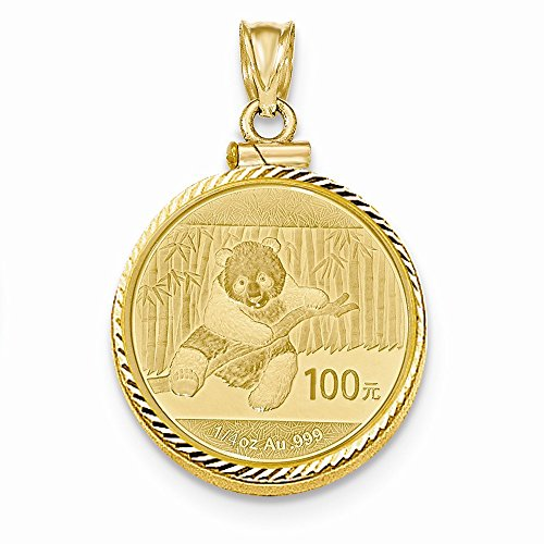 14K Yellow Gold 0.25 oz Mounted Panda Coin Screw Top Coin Bezel Pendant ()