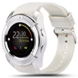 AMENON Sport Smart Watch Phone with SIM Card Call Slot Built in Camera Bluetooth for Men Women Activity Fitness Wrist Watch Bracelet Pedometer Sleep Monitor for Universal Cell Phone White