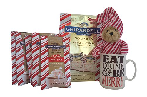 [Ghirardelli Peppermint Bark Gift Set: Peppermint Hot Chocolate, 13.15 oz Peppermint Bark Bag,Teddy Bear and Holiday Coffee] (Peppermint Costumes)