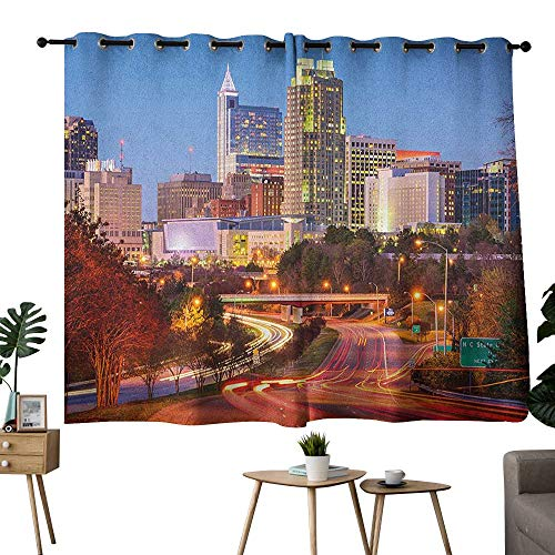 bybyhome United States Grommets Family Darkening Curtains Raleigh North Carolina USA Express Way Business District Building Skyscrapers Curtain Kitchen Multicolor W72 x -