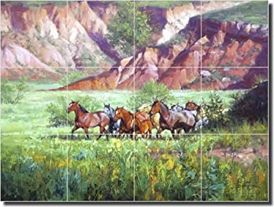 "Western Horses Ceramic Tile Mural Backsplash 17"" x 12.75"" - On the Canyon Floor by Jack Sorenson - Kitchen Shower Decor"