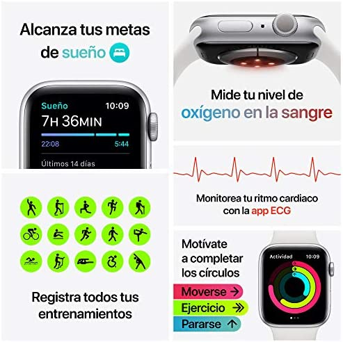 Nuevo AppleWatch Series6 (GPS + Cellular)- Caja de aluminio color plata de 44mm- Correa deportiva blanca - Estándar 8