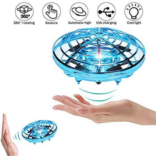 Mini Drone Flying Toys - Interactive Infrared Induction Helicopter Ball Hand Controlled Quadcopters Flying Ball Toys,Mini Indoor Drone Helicopter Toy Shining LED Lights Flying Drones for Kids (Blue)