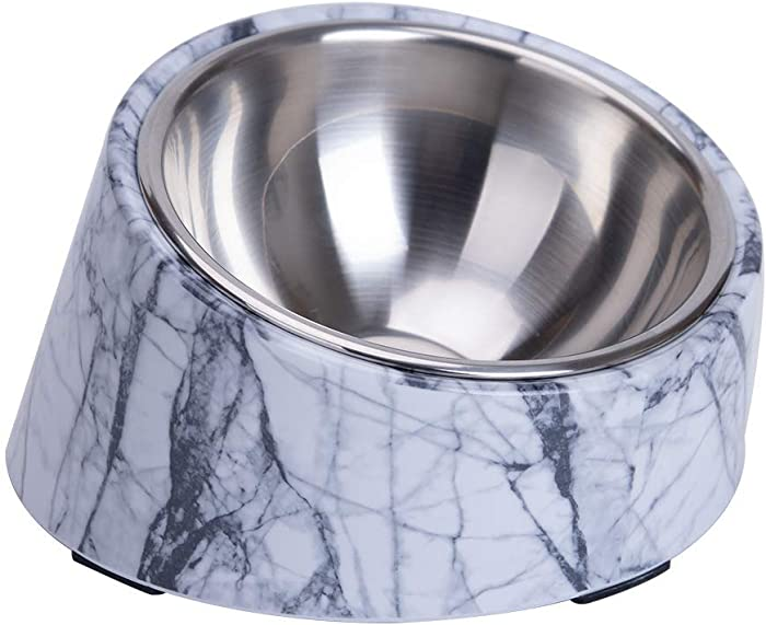 Super Design Mess Free 15 Degree Slanted Bowl for Dogs and Cats, Tilted Angle Bulldog Bowl Pet Feeder, Non-Skid & Non-Spill, Easier to Reach Food M/1.5 Cup Marble