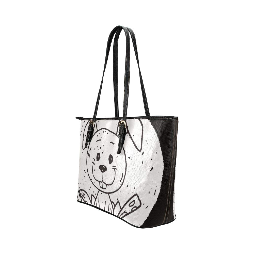 Funny Black Drawn Animal Doodles Large Soft Leather Portable Top Handle Hand Totes Bags Causal Handbags With Zipper Shoulder Shopping Purse Luggage Organizer For Lady Girls Womens Work