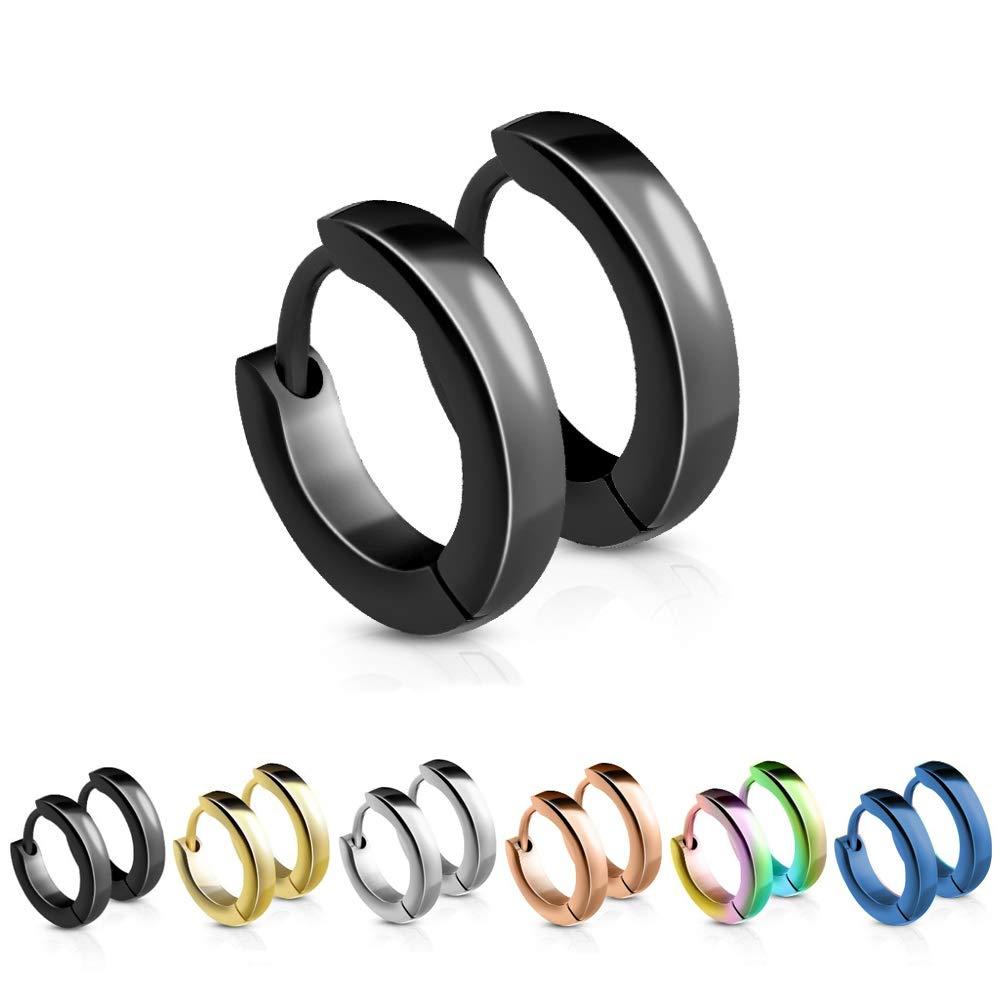 treu Held | estrecho Pendientes de aro en 5 colores (Negro, Oro ...