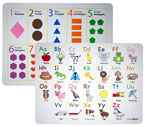 Clever Quark - Kids Educational Silicone Placemats (Set of 2) Alphabet, Phonics, Numbers, Shapes, Colors - Rollable, Washable, Non-Slip, 100% Food Grade and BPA Free