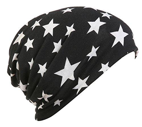 HONENNA Printed Chemo Caps for Women Turban Headband Cotton Soft Sleep Beanie (Star-Black+White)