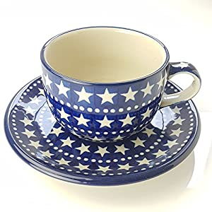 Polish Pottery Teacup and Saucer – Midnight Star – 200ml