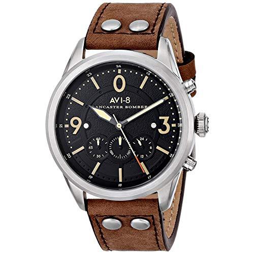 AVI-8 Men's AV-4024-01 Lancaster Bomber Stainless Steel Watch with Leather Band (Lancaster Mens Steel)