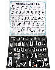 مجموعة ادوات ماكينة خياطة بدواسة 42 قطعة من يكن، لماكينات براذر، بيبي لوك، سينجر، جانومي، كينمور، ووايت لو شانك