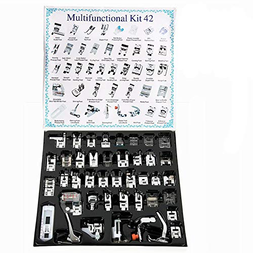 YEQIN 42 PCS Professional Presser Feet Set Presse Foot Domestic Sewing Machine Foot for Brother, Singer, Babylock, Janome, Elna, Etc, Low Shank Sewing Machine (Domestic Machine Parts Sewing)