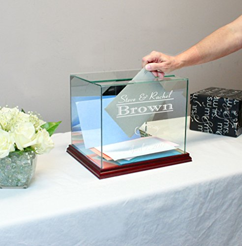Personalized Glass Rectangle Wedding Card Box Cherry